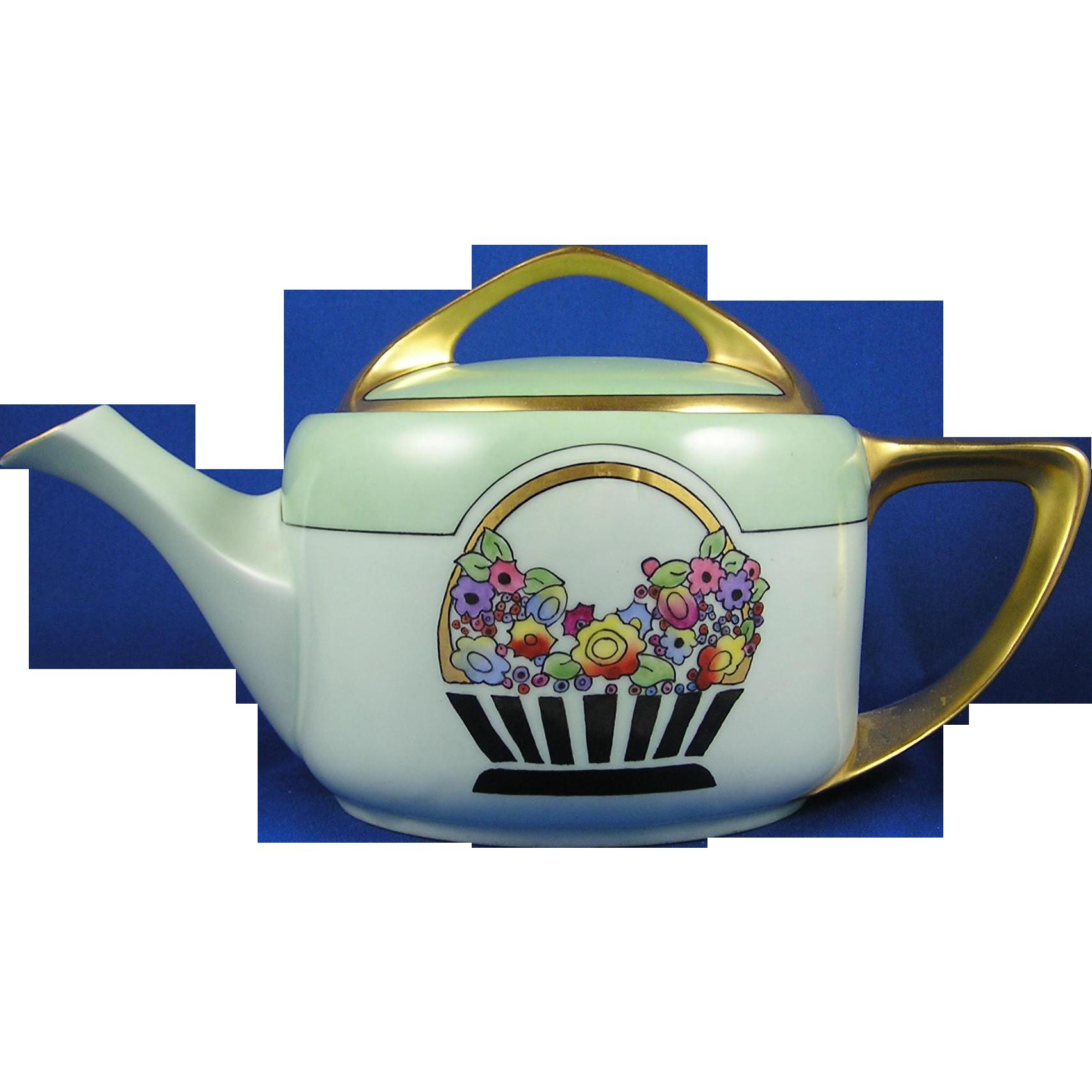 "Rosenthal Bavaria Donatello Arts & Crafts Floral Basket Motif Teapot (Signed ""Byfield's""/c.1907-1930)"