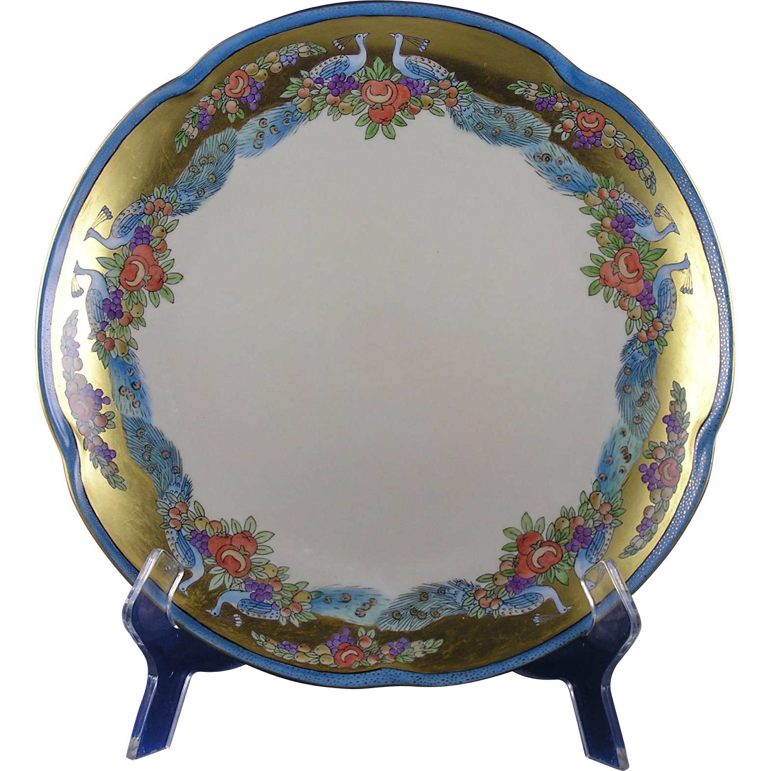 Jaeger & Co. (JC) Bavaria Peacock & Fruit Motif Plate/Charger (c.1902-1940)