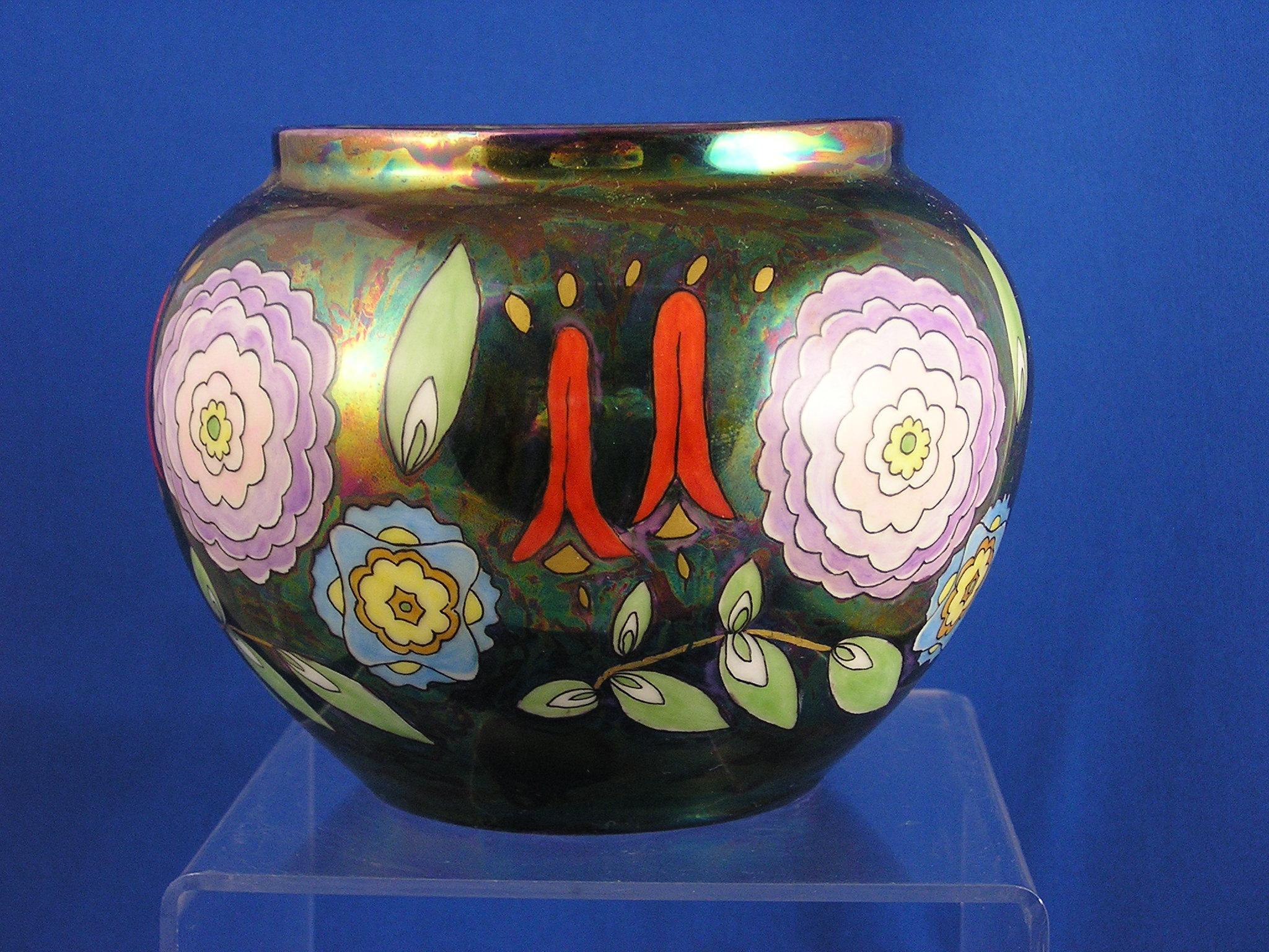 pmr jaeger co bavaria art deco floral lustre design vase signed from darkflowers on ruby lane. Black Bedroom Furniture Sets. Home Design Ideas