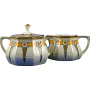 "RS Silesia Tillowitz Arts & Crafts Floral Motif Creamer & Sugar Set (Signed ""Maxon""/c.1904-1940)"