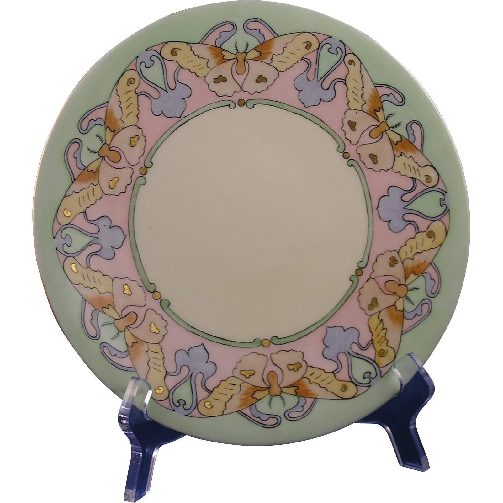 "Jean Pouyat (JP) Limoges Arts & Crafts Butterfly Motif Plate (Signed ""W.E. Durkee""/c.1902-1932) - Keramic Studio Design"