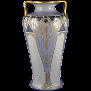 Austrian Blank Porcelain Arts & Crafts Blue Floral Design Vase (c.1910-1940)