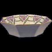 """Paroutaud Freres (P&P) Le Seynie Limoges Art Deco Floral Design Bowl (Signed """"LRM""""/c.1915-1925)"""