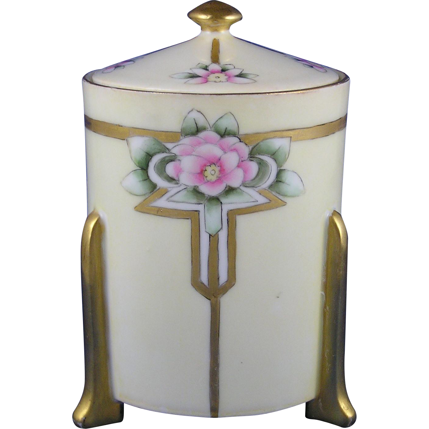 Thomas Bavaria Arts & Crafts Floral Motif Jam/Jelly Jar (c.1908-1925)