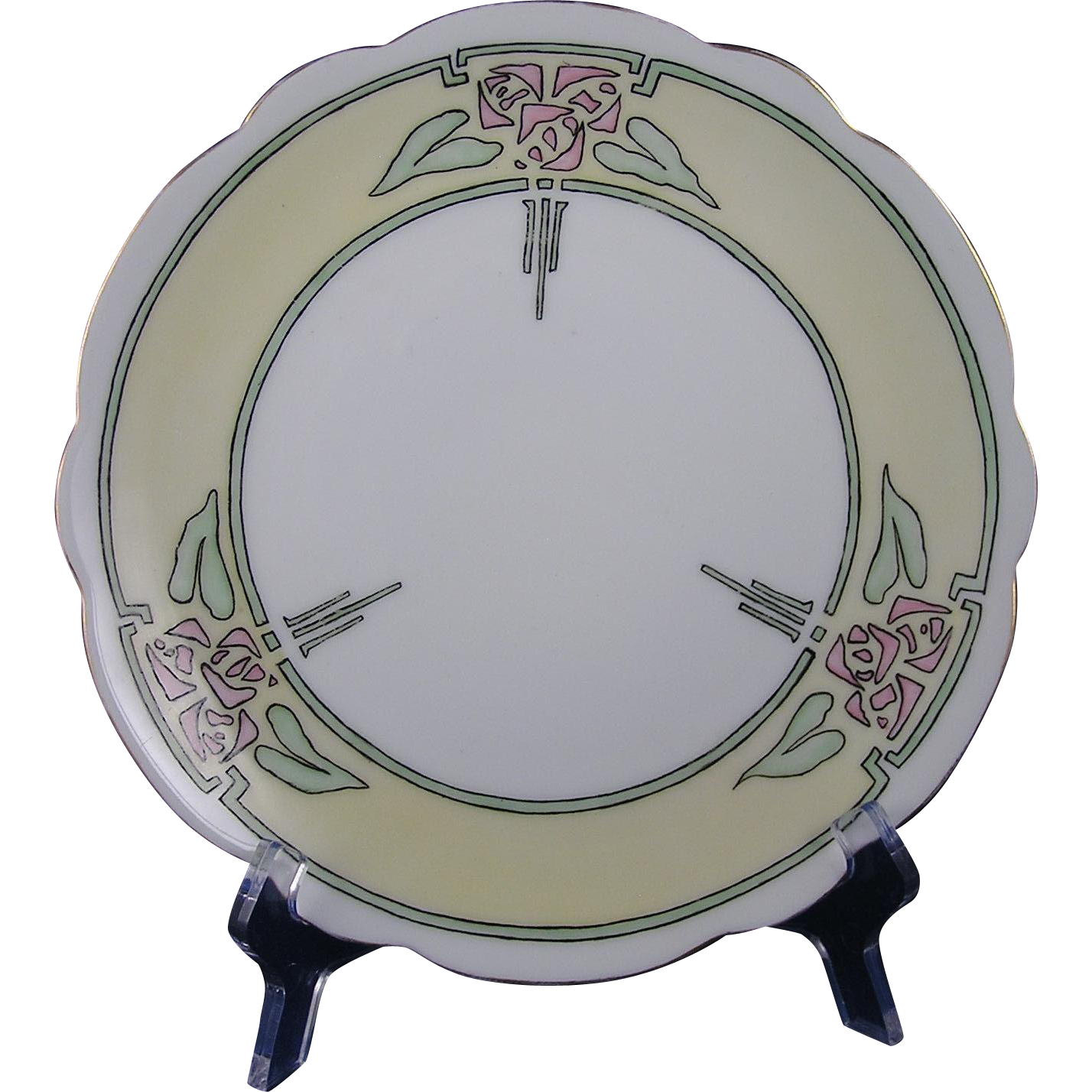 "Jaeger & Co. (J&Co.) Bavaria Arts & Crafts Rose Motif Plate (Signed ""E.I. Davidson""/c.1914-1930) - Keramic Studio Design"