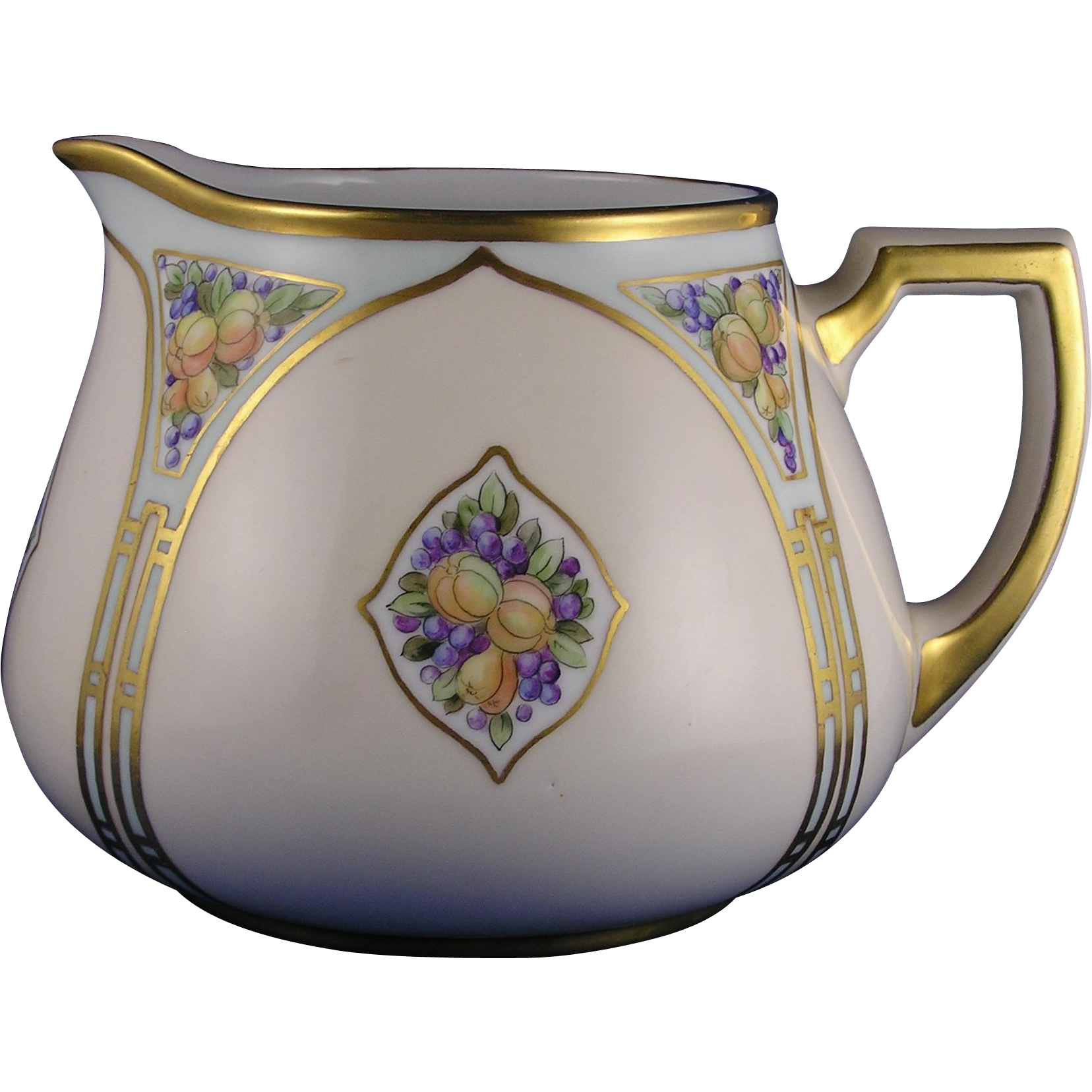 "Zeh Scherzer & Co. (ZS&Co.) Bavaria Arts & Crafts Fruit Motif Cider/Lemonade Pitcher (Signed ""R. Jewell""/Dated 1916)"