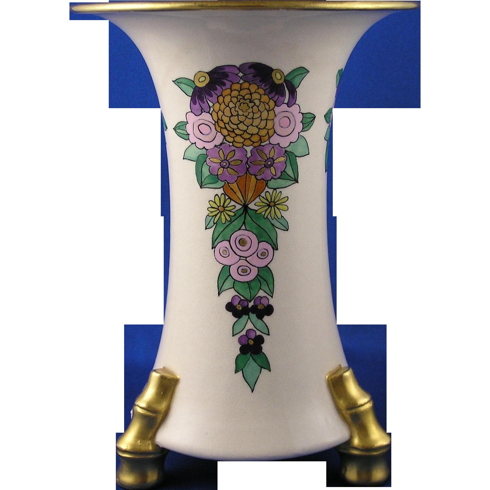 "American Satsuma Arts & Crafts Floral Motif Vase (Signed ""F.H.""/c.1910-1930)"