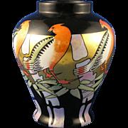 "OEPIAG Czechoslovakia Art Deco Lustre Bird Motif Vase (Signed ""C.B. Meredith""/c.1918-1936)"