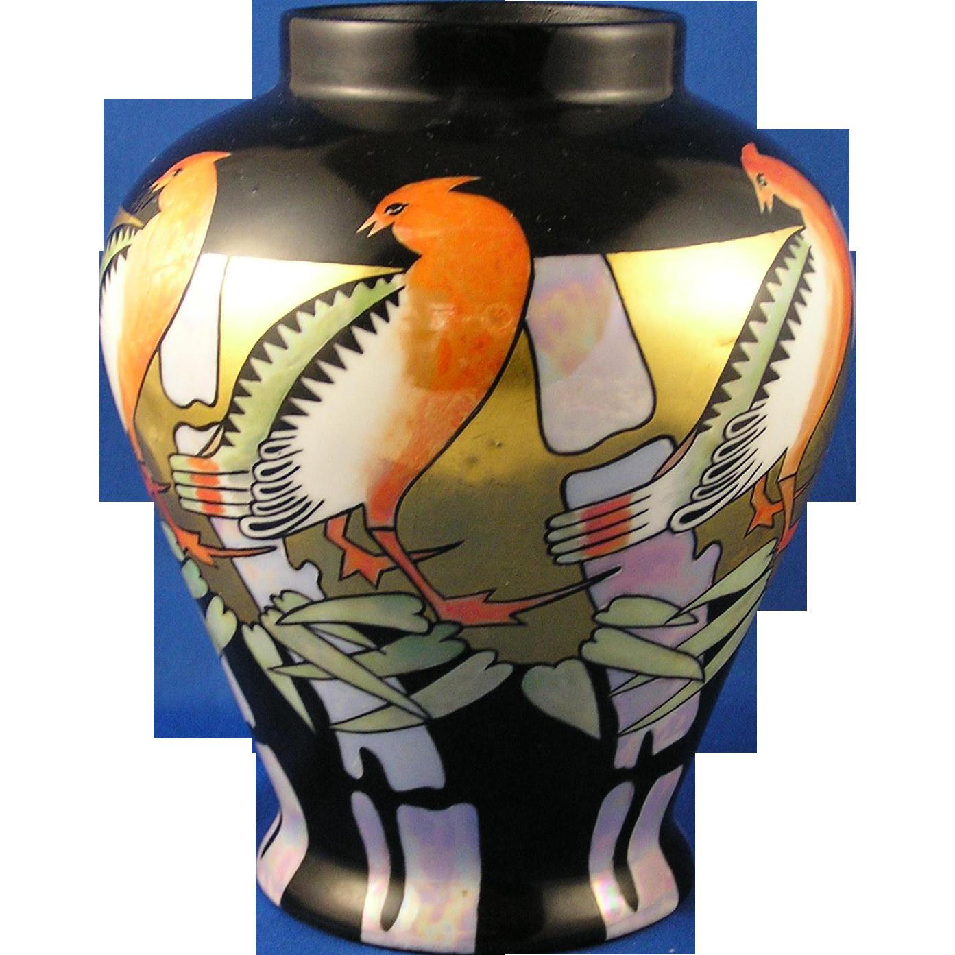 oepiag czechoslovakia art deco lustre bird motif vase signed c b from darkflowers on ruby lane. Black Bedroom Furniture Sets. Home Design Ideas