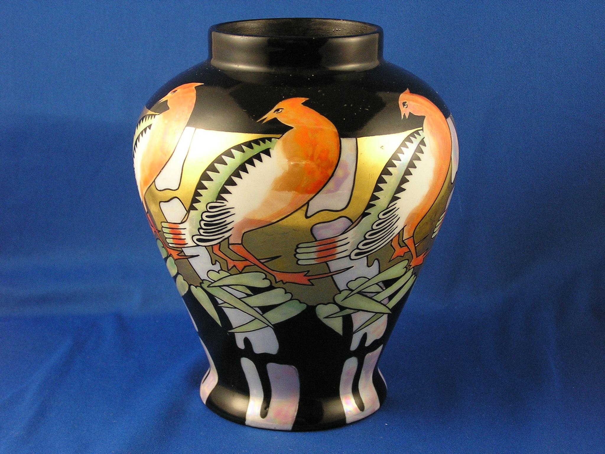 oepiag czechoslovakia art deco lustre bird motif vase. Black Bedroom Furniture Sets. Home Design Ideas