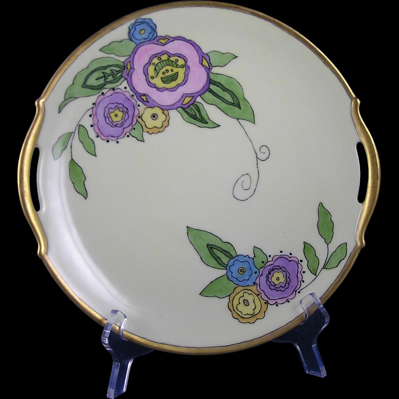 """Limoges Mark 6 Arts & Crafts Floral Motif Handled Plate (Signed """"C.M.C.""""/Dated 1926)"""