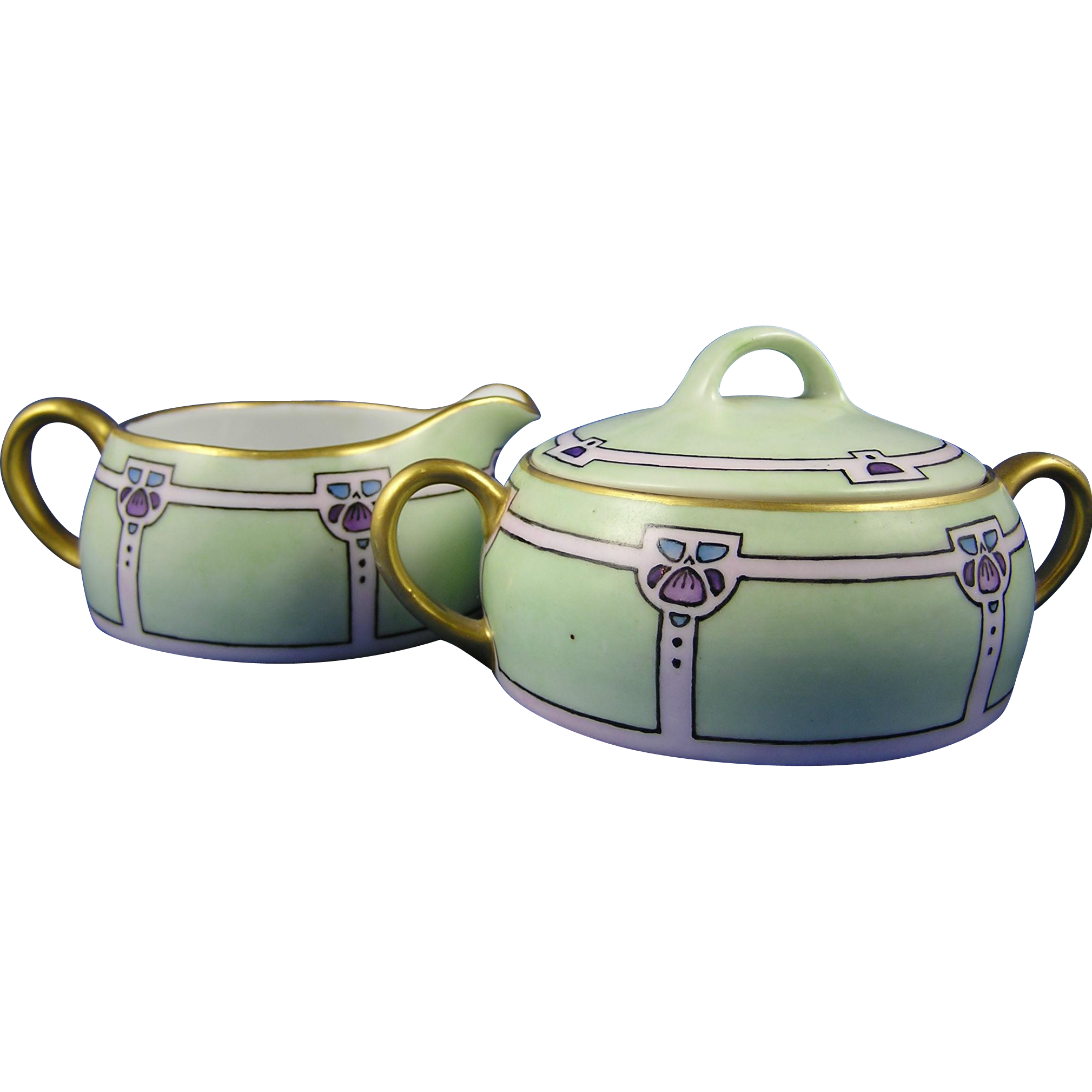 "Heinrich & Co. (H&Co.) Bavaria Art Deco Creamer & Sugar Set (Signed ""M.S. Bergh.""/c.1910-1925)"