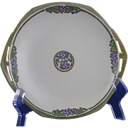 "Moritz Zdekauer (MZ) Austria Arts & Crafts Floral Design Small Handled Plate (Signed ""G.L.R. Xmas""/Dated 1915)"