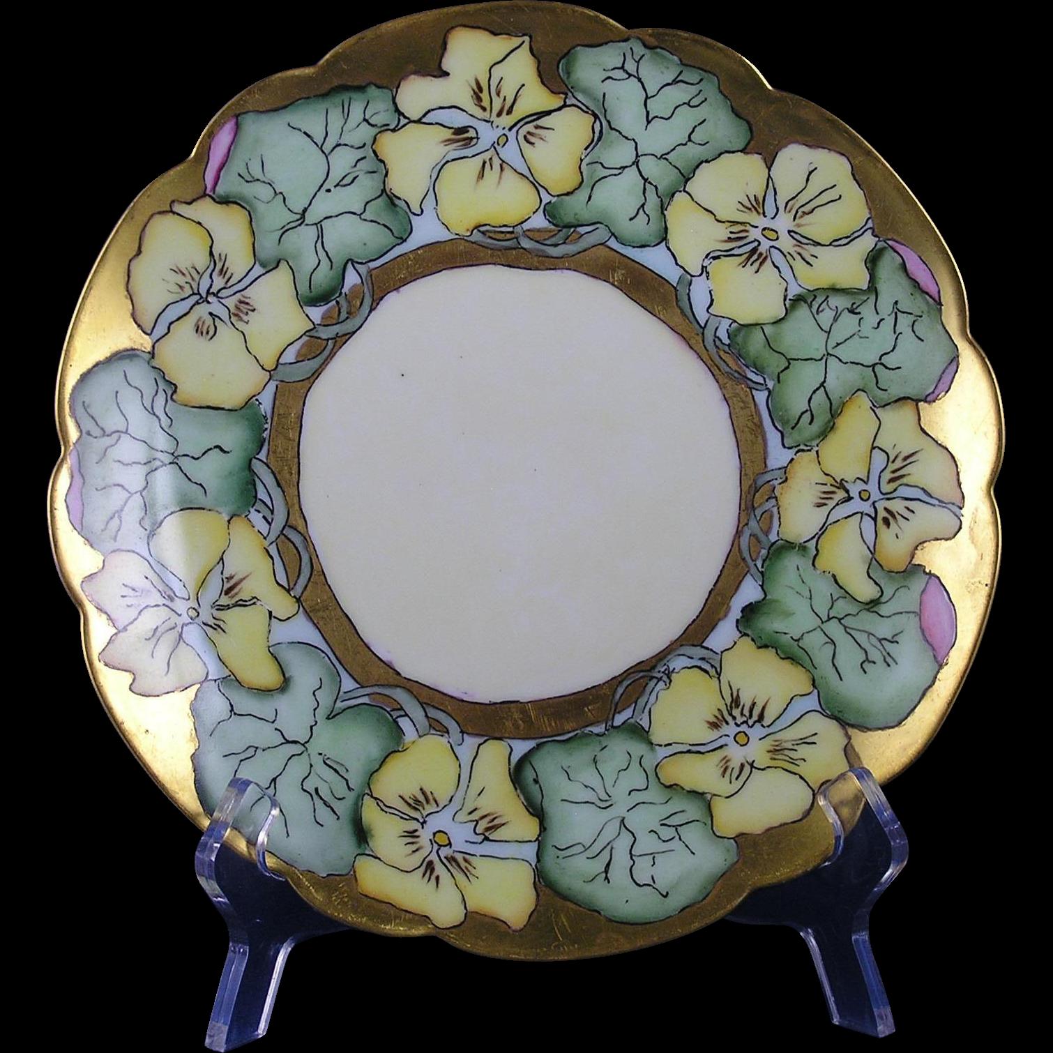 "Tirschenreuth Bavaria Arts & Crafts Nasturtium Motif Plate (Signed ""Vaughan""/c.1927-1940)"