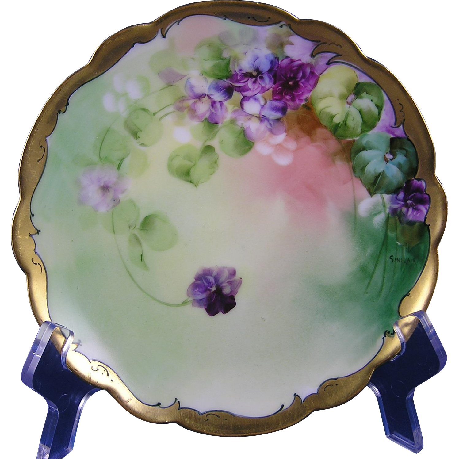"Limoges Mark 6 Pickard Studios Violet Design Plate (Signed ""Sinclair""/c.1903-1905)"
