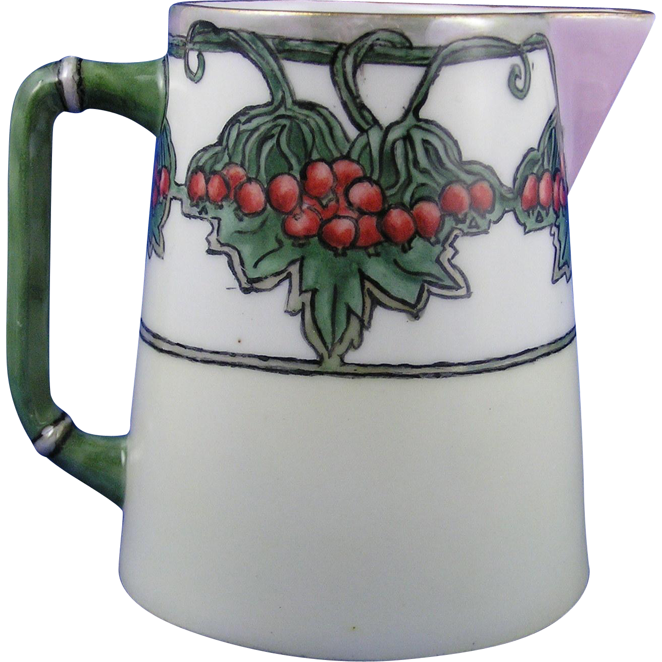 "Charles Martin Limoges Arts & Crafts ""High Bush Cranberries"" Design Pitcher (Signed ""J.D.P.""/c.1907-1920)"