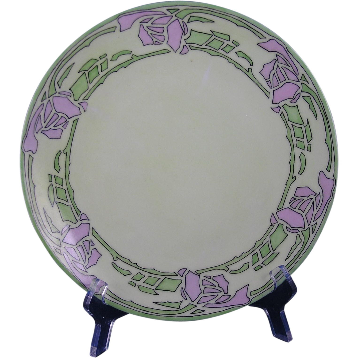 "Thomas Bavaria Arts & Crafts Rose Design Plate (Signed ""E.L. Holt""/c.1908-1930)"