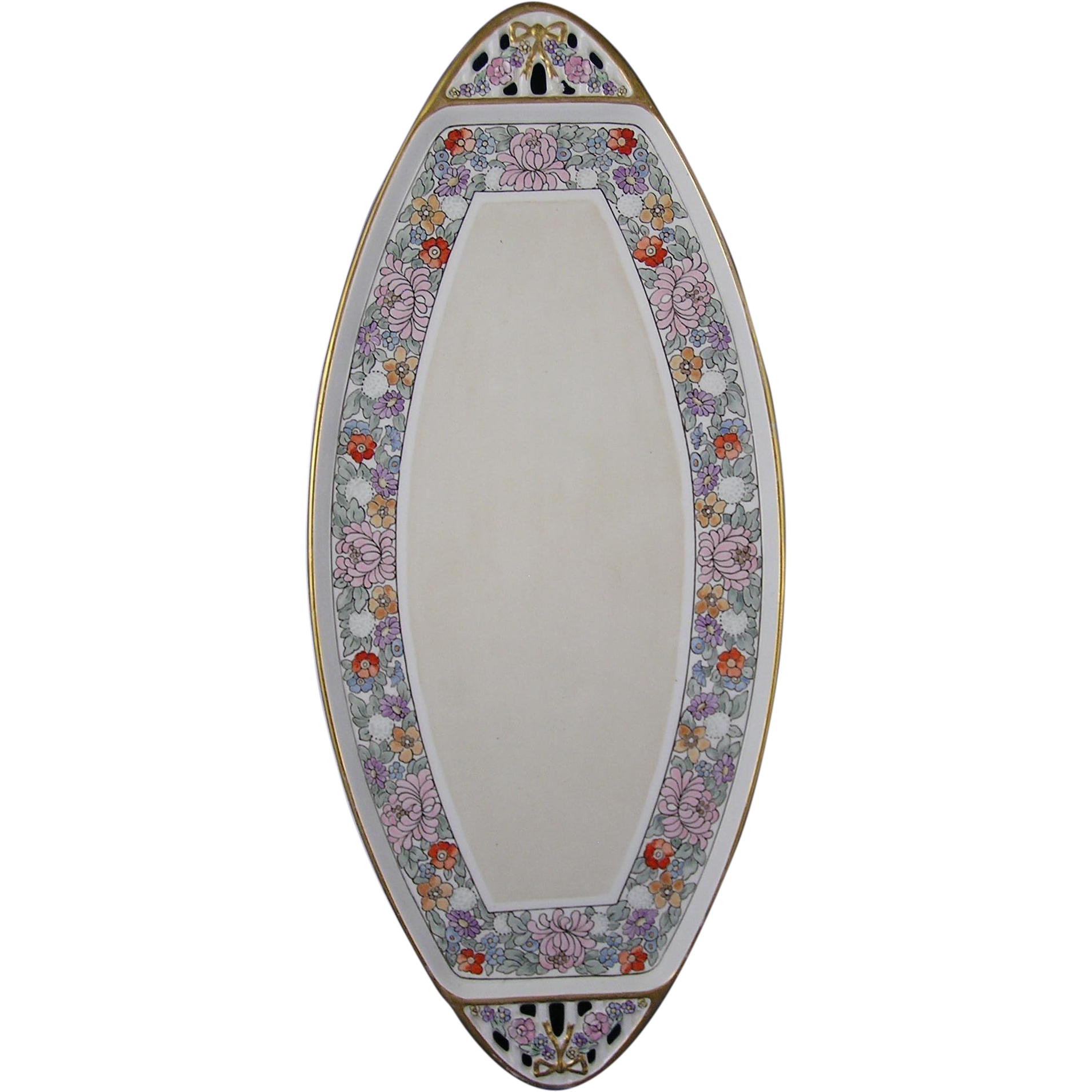 Max Roesler Germany Atlan Club Enameled Floral Design Handled Tray (c.1900-1930)