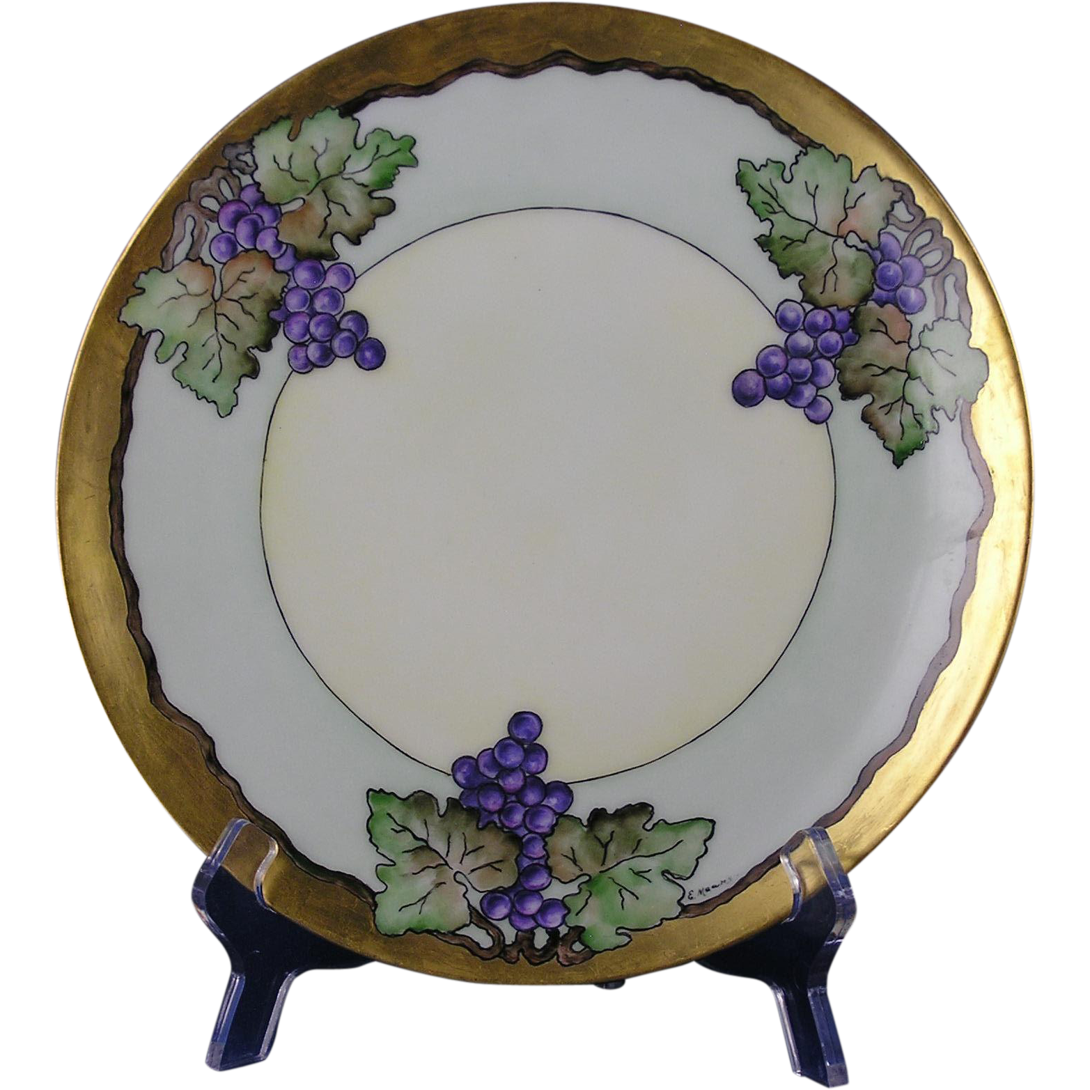 "Thomas Bavaria Arts & Crafts Grape Motif Plate (Signed ""E. Meams""/c.1908-1930)"