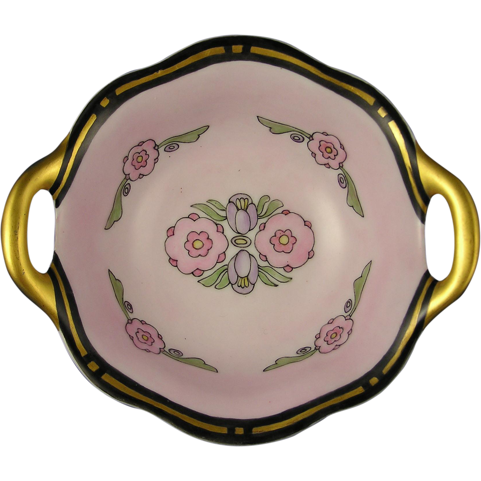 "RS Germany Art Deco Floral Motif Handled Bowl (Signed ""G. Eby.""/c.1920-1935)"