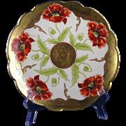 "Limoges Mark 6 Pickard Studios ""Poppy Conventional"" Design Plate (Signed ""Wagner"" for Albert H. Wagner/c.1905-1910)"