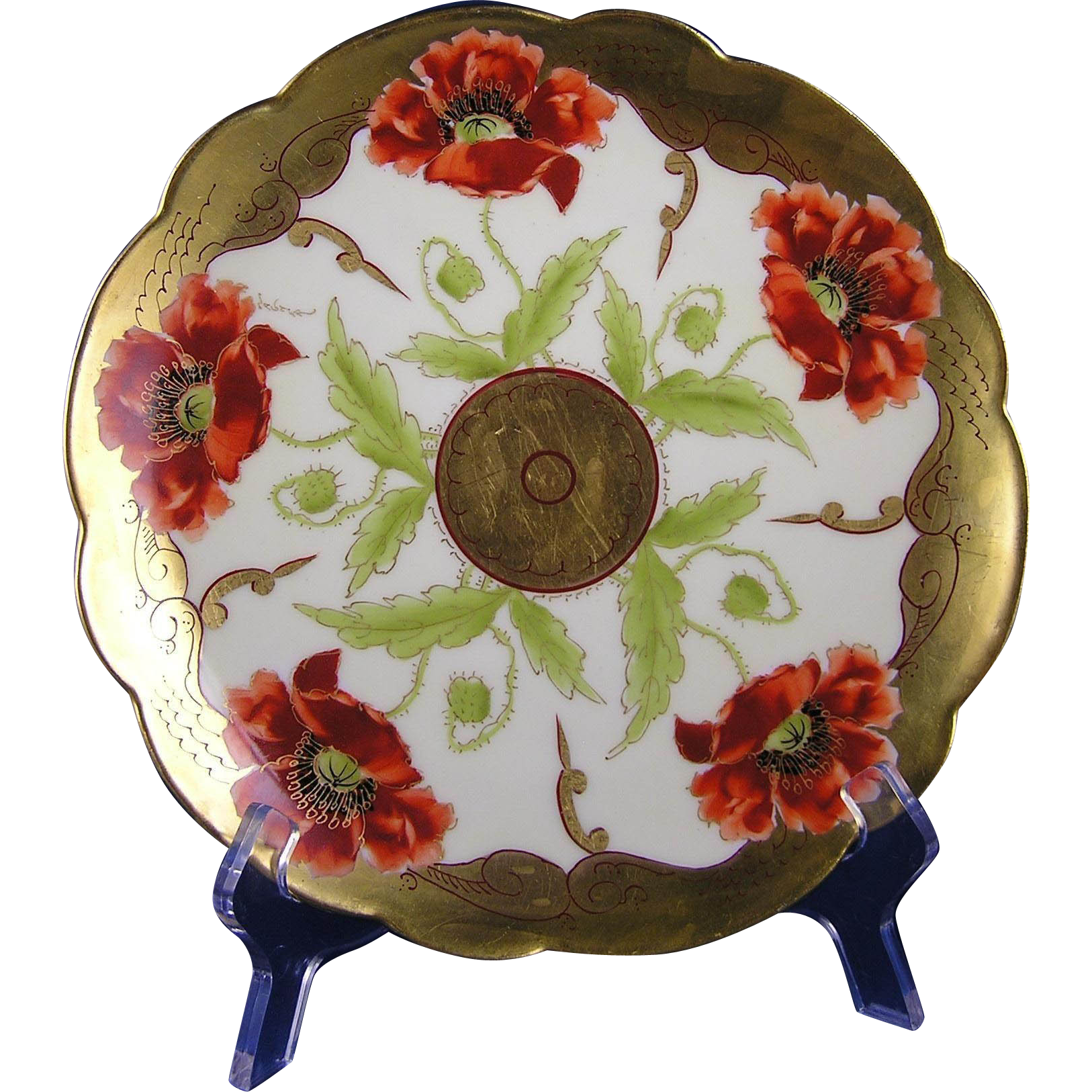 "Limoges Mark 6 Pickard Studios ""Poppy Conventional"" Design Plate (Signed ""Wagner"" for Albert H. Wagner/c.1905-1910)"