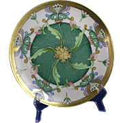 """Haviland Limoges Egyptian Revival Floral Design Plate (Signed """"O. Goess"""" for Pickard Artist Otto Goess/c.1905-1910) - Red Tag Sale Item"""