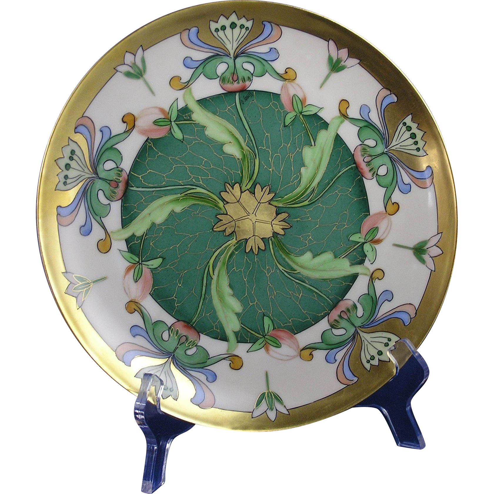 "Haviland Limoges Egyptian Revival Floral Design Plate (Signed ""O. Goess"" for Pickard Artist Otto Goess/c.1905-1910)"