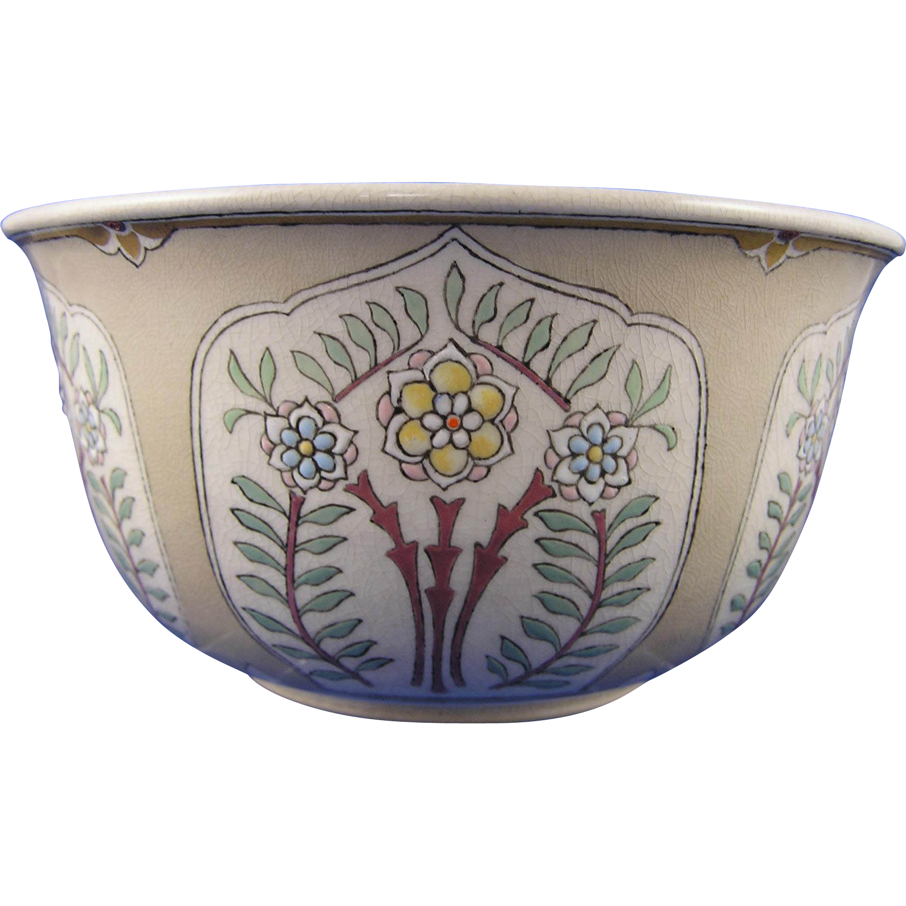 "American Satsuma Arts & Crafts Floral Motif Bowl (Signed ""M.M.K.""/Dated 1915)"