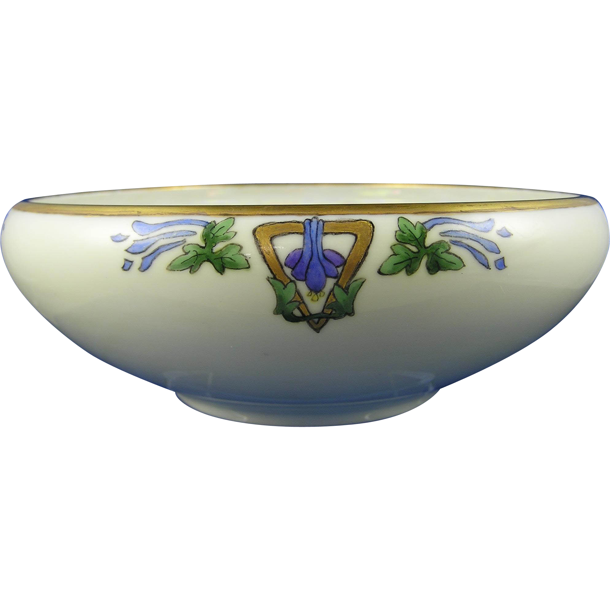 "Bavaria Porcelain Blank Floral & Gold Motif Bowl (Signed ""Dorothy E. Fisher""/Dated 1926)"