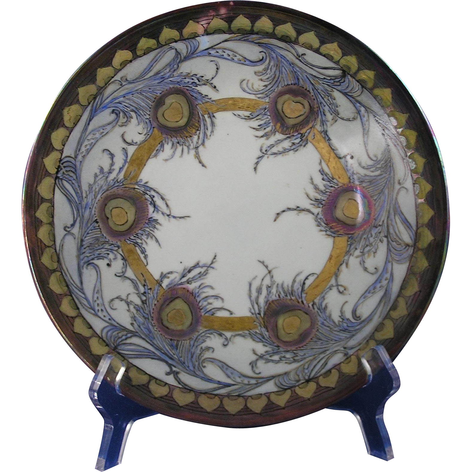 "Jean Pouyat Limoges Peacock Feather Motif Plate (Signed ""M.F.""/c.1904-1910)"