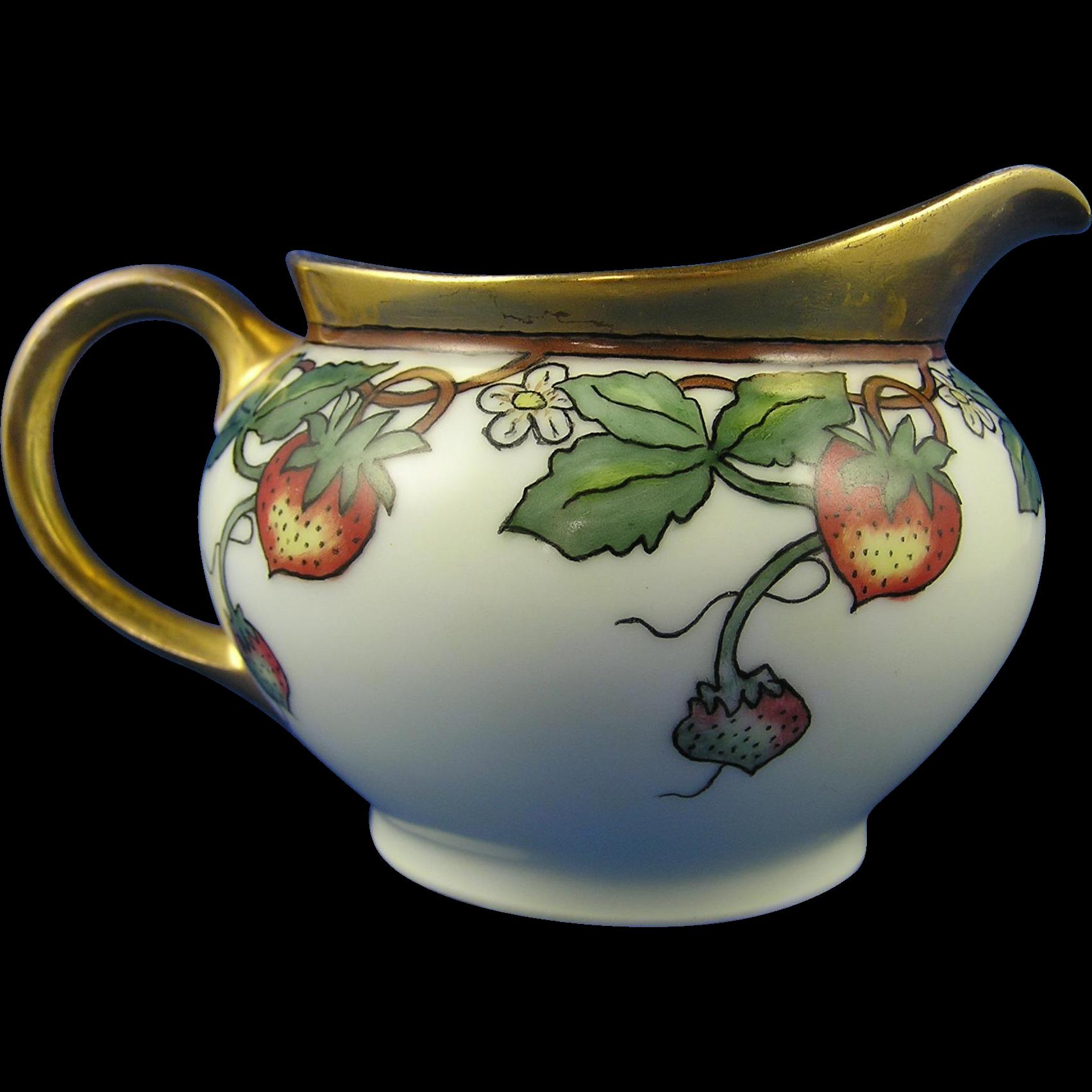 Thomas Bavaria Arts & Crafts Strawberry Design Pitcher (c.1908-1930)