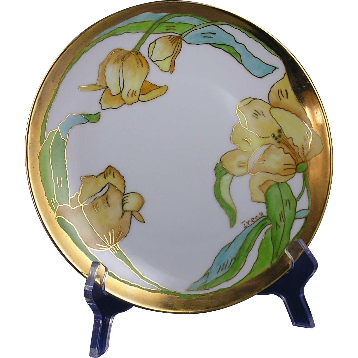 "Hutschenreuther Arts & Crafts Yellow Tulips Plate (Signed ""Irene""/c.1887-1920)"