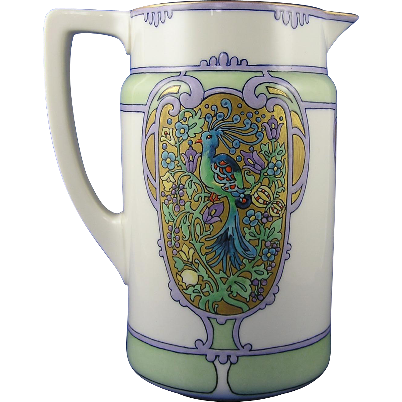 Lenox Belleek Arts & Crafts Enameled Bird of Paradise & Floral Motif Pitcher (c.1906-1924)