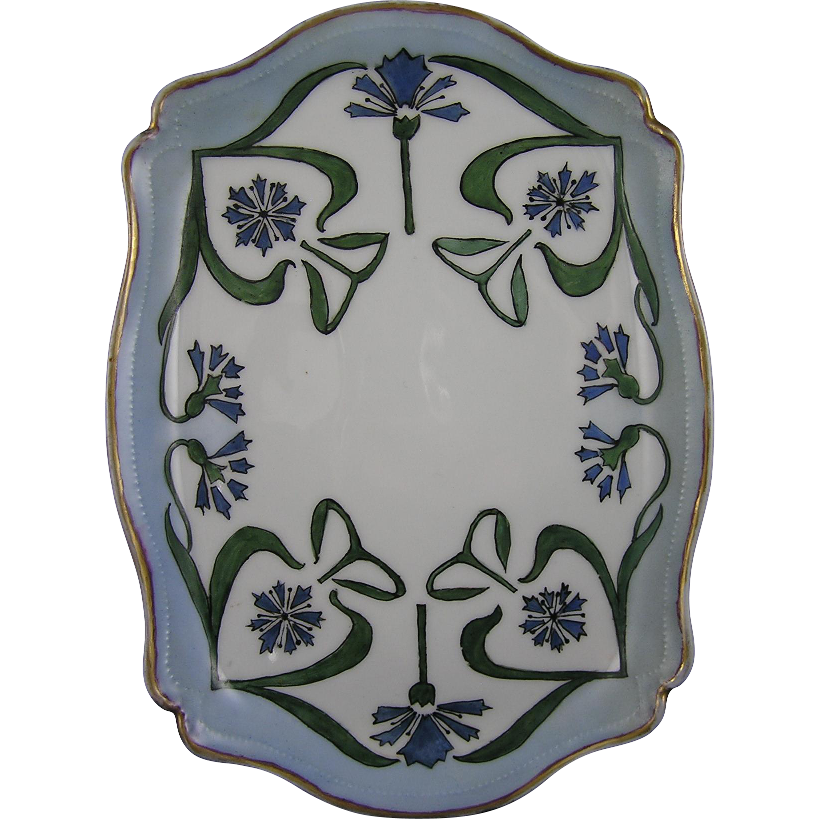Tressemann & Vogt (T&V) Limoges Arts & Crafts Cornflower Design Tray (c.1908-1920) - Keramic Studio Design
