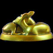 "Zsolnay Hungary Eosin Green Resting Deer Pair Figurine (Signed ""Sinko A.""/c.1920-1940)"