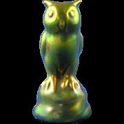 Zsolnay Hungary Eosin Green Owl Figurine (c.1920-1940)
