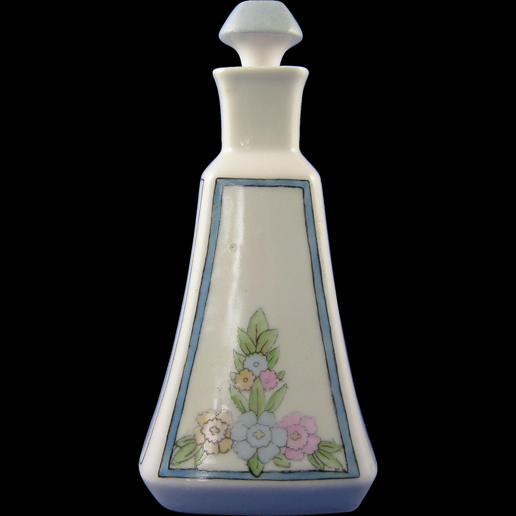 """Porcelaine Limousine (PL) Limoges Arts & Crafts Floral Motif Cruet (Signed """"L. Smith""""/c.1905-1939)"""
