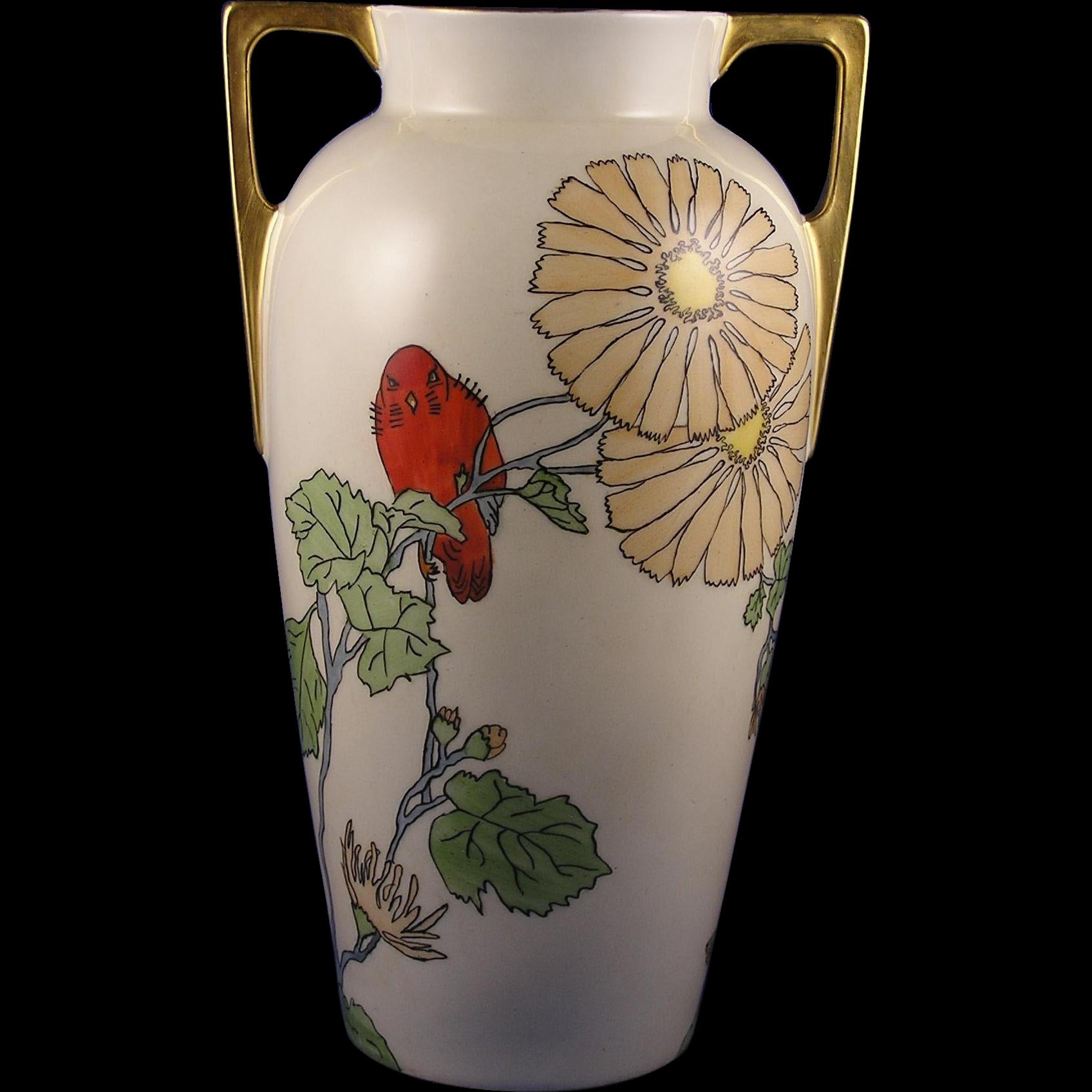 "CT Altwasser Silesia Arts & Crafts ""Red Bird & Flowers"" Design Vase (Signed ""Peggye Slay""/c.1914-1920)"