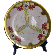 "Charles Ahrenfeldt Limoges Pickard Studios ""Fisher Pansies & Raised Gold"" Design Plate (c.1905-1910)"