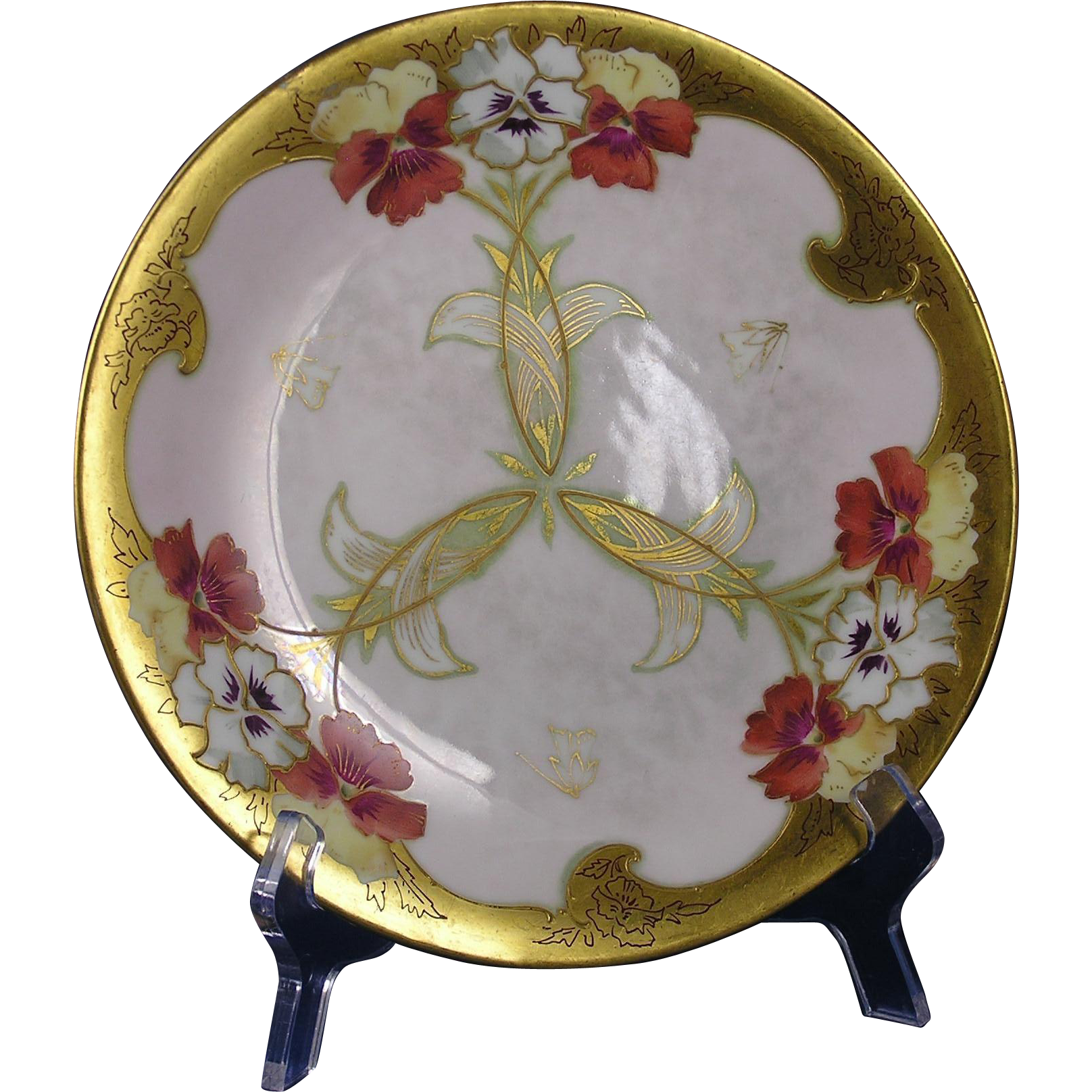 "Charles Ahrenfeldt Limoges Pickard Studios ""Fisher Pansies & Raised Gold"" Design Plate (c.1905-1910)"