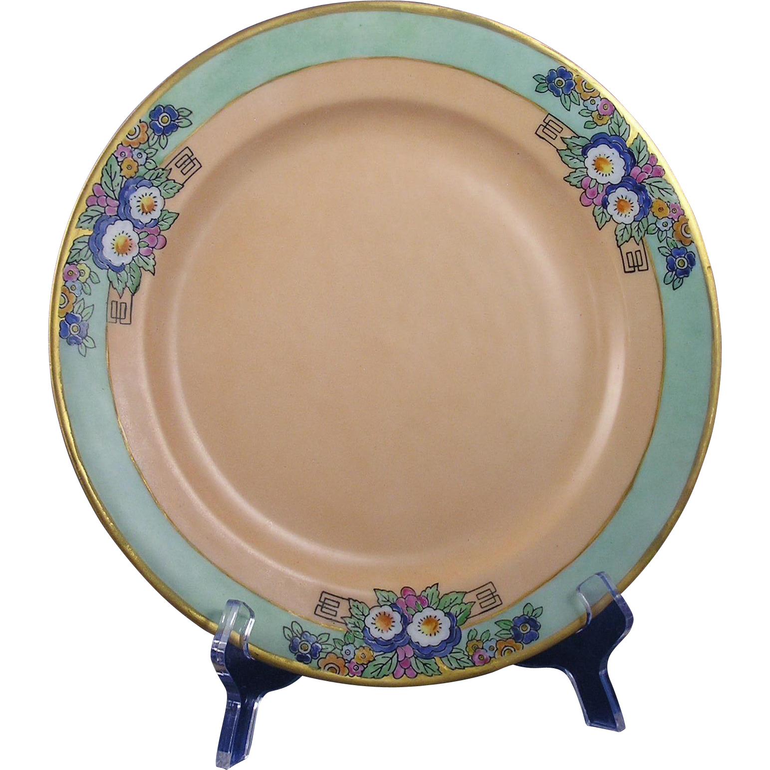 Haviland Limoges Arts & Crafts Enameled Floral Motif Plate (c.1909-1931) - Keramic Studio Design