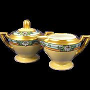 Fischer & Mieg Pirkenhammer Austria Arts & Crafts Enameled Floral Motif Creamer & Sugar Set (c.1900-1918)