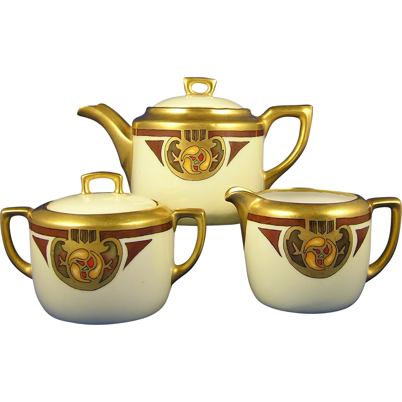 "Moritz Zdekauer (MZ) & CT Altwasser Austria Arts & Crafts Floral Design Teapot, Creamer & Sugar Set (Signed ""H. Dietz""/c.1912-1920) - Keramic Studio Design"