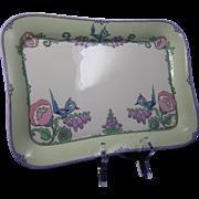 Lenox Belleek Arts & Crafts Whimsical Enameled Bird & Floral Motif Tray (c.1906-1924)