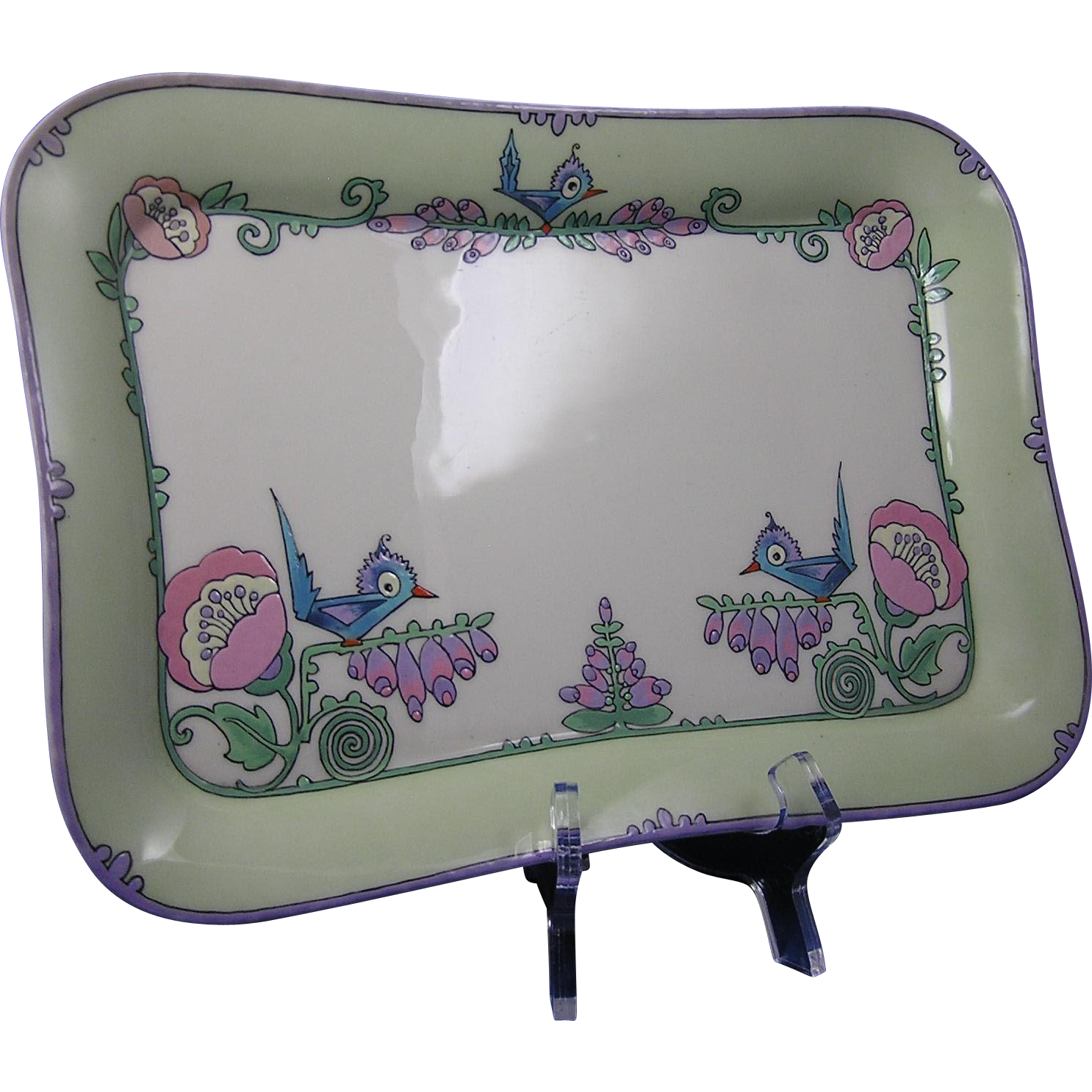 Lenox Belleek Arts & Crafts Whimsical Enameled Bird & Floral Motif Tray (c.1906-1924)