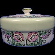 Lenox Belleek Arts & Crafts Whimsical Enameled Bird & Floral Motif Covered Dish/Dresser Jar (c.1906-1924)