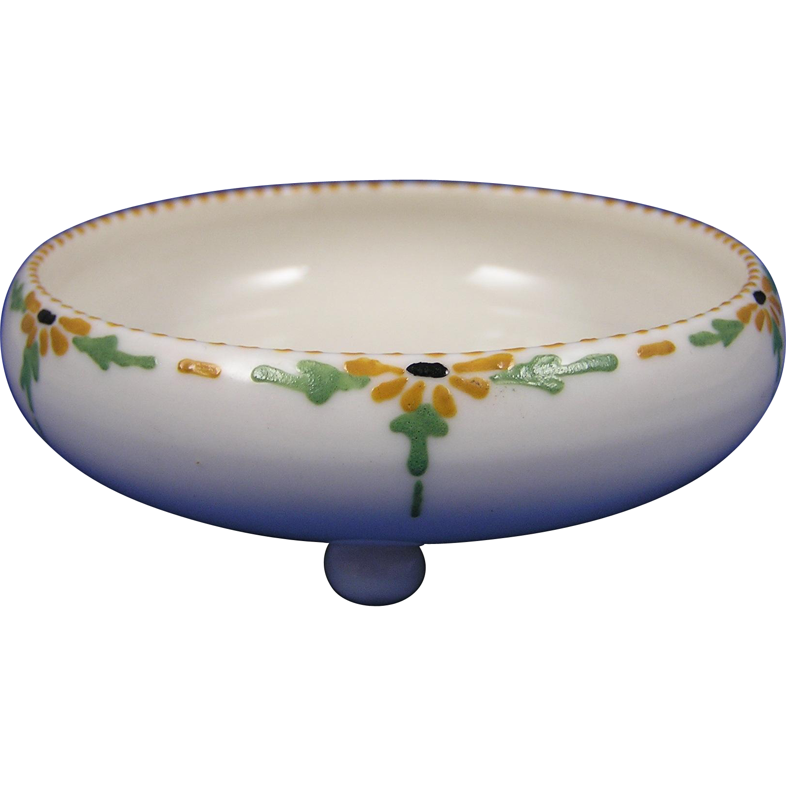 "Willetts Belleek Arts & Crafts Enameled Floral Motif Footed Dish (Signed ""E. King""/c.1879-1912)"