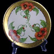 Tressemann & Vogt (T&V) Limoges Arts & Crafts Poppy Motif Plate (c.1892-1907)