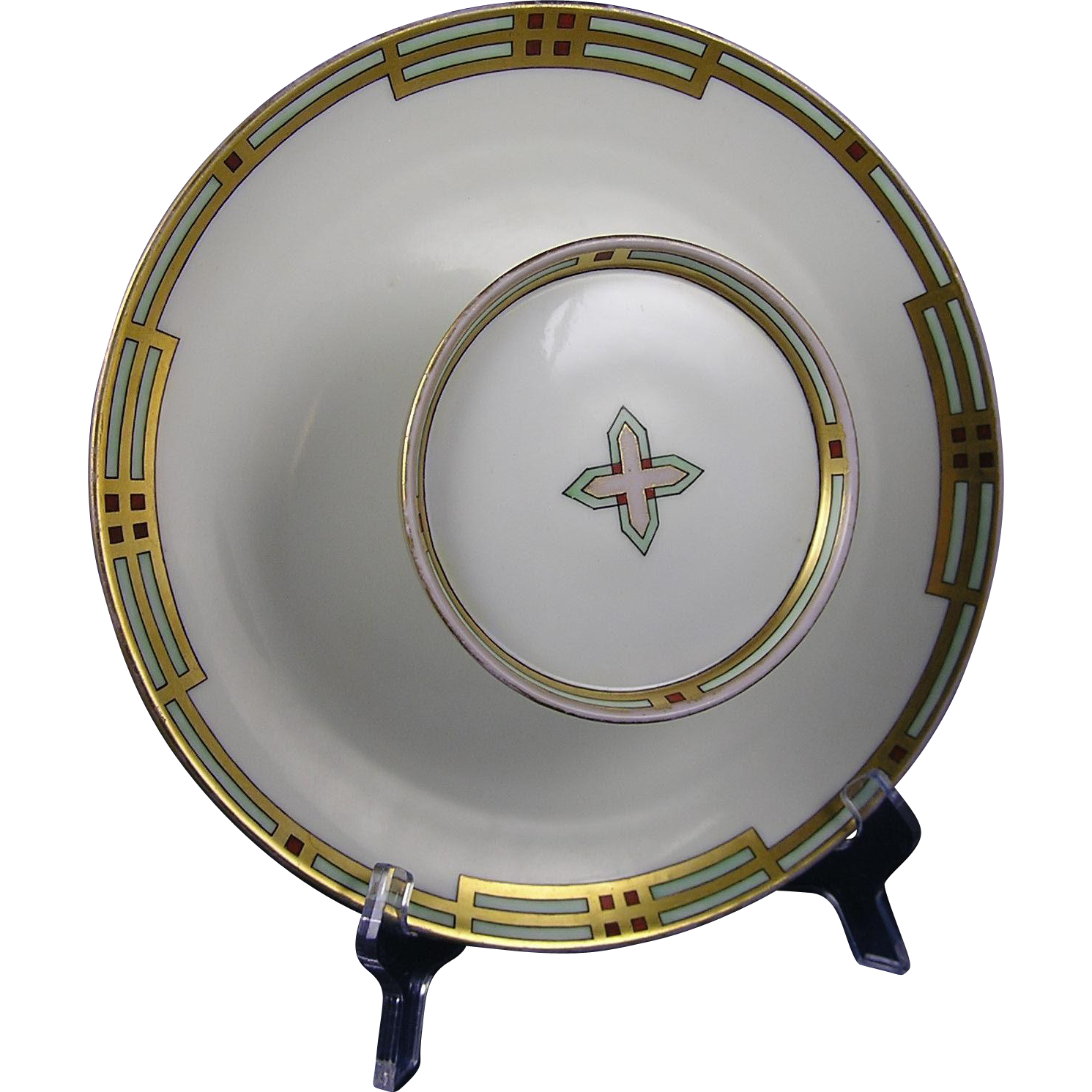 "PH Leonard Austria Art Deco Geometric Design Tiered Serving Plate (Signed ""A. Wick""/c.1890-1920)"